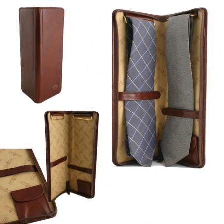 Etui cravates en cuir Gianni Conti